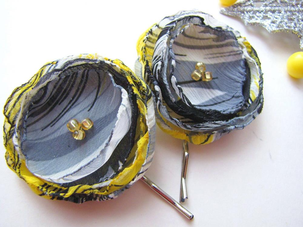 Handmade bobby pins with fabric flowers (set of 2 pcs) - GRAY AND YELLOW