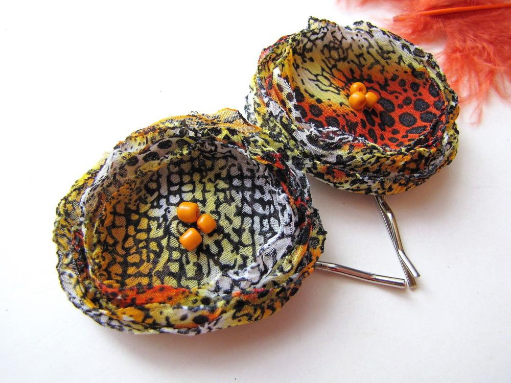 Handmade bobby pins with chiffon flowers (2 pcs) - ORANGE RATTLESNAKE
